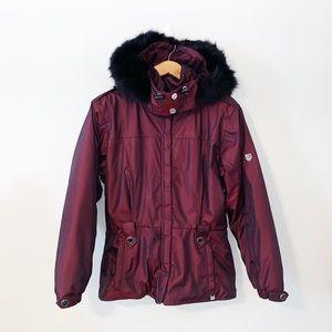 NILS Vintage Signature Maroon Hooded Ski Jacket